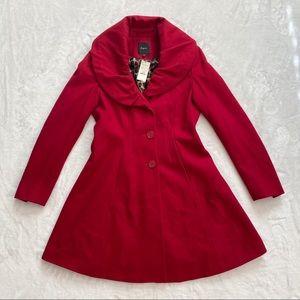 EXPRESS Wool Blend Coat Jacket Midi Length Red, M